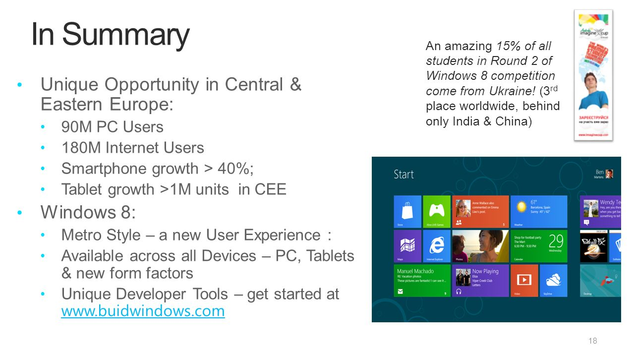 In Summary Unique Opportunity in Central & Eastern Europe: 90M PC Users 180M Internet Users Smartphone growth > 40%; Tablet growth >1M units in CEE Windows 8: Metro Style – a new User Experience : Available across all Devices – PC, Tablets & new form factors Unique Developer Tools – get started at An amazing 15% of all students in Round 2 of Windows 8 competition come from Ukraine.