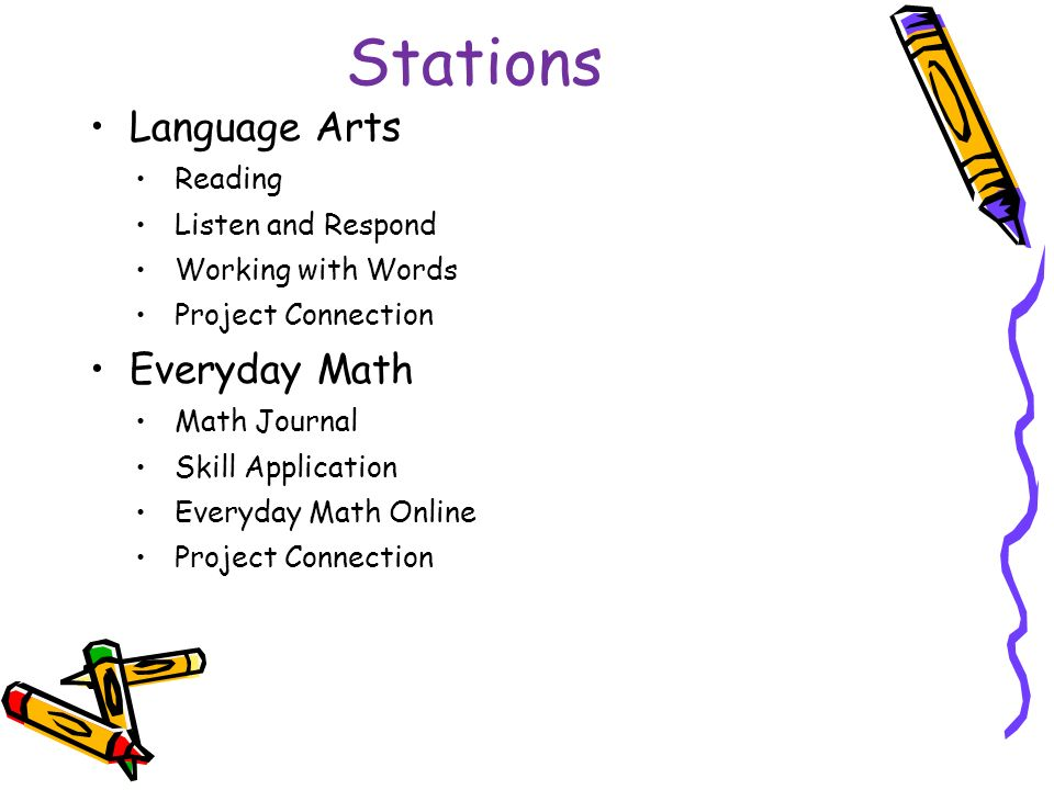 Stations Language Arts Reading Listen and Respond Working with Words Project Connection Everyday Math Math Journal Skill Application Everyday Math Online Project Connection