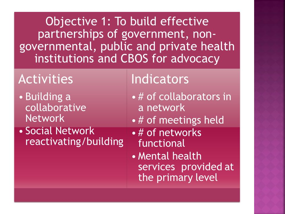 Objective 1: To build effective partnerships of government, non- governmental, public and private health institutions and CBOS for advocacy Activities Building a collaborative Network Social Network reactivating/building Indicators # of collaborators in a network # of meetings held # of networks functional Mental health services provided at the primary level