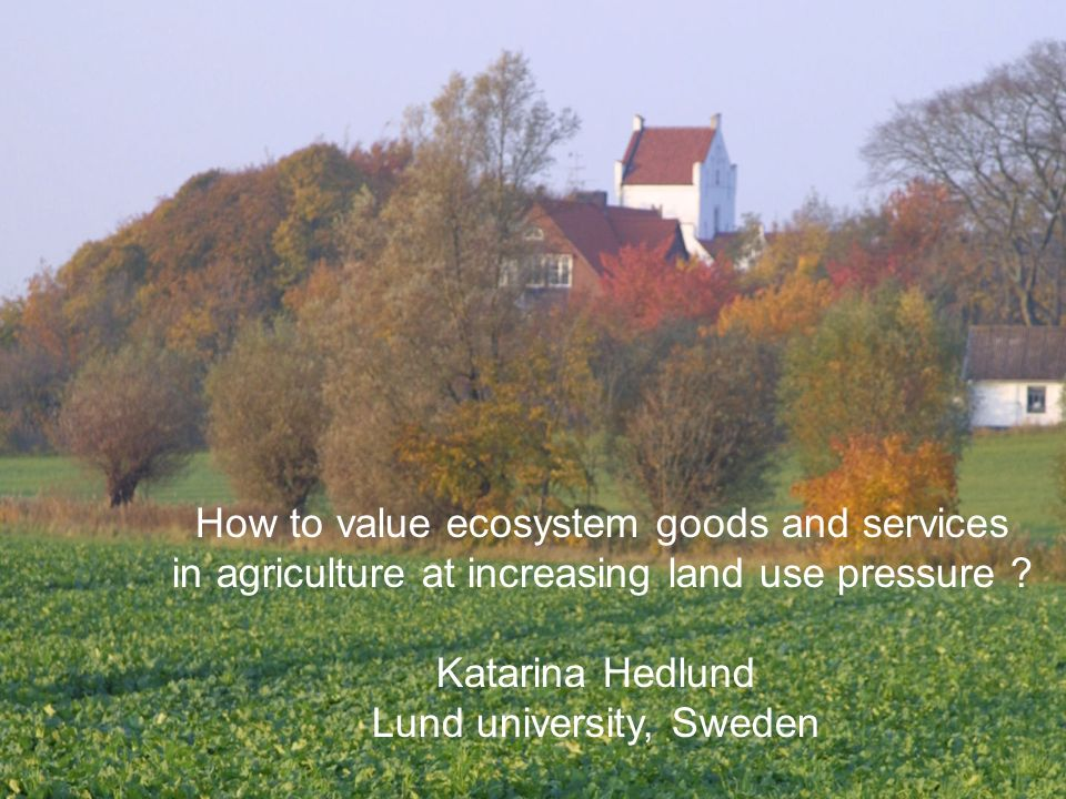 How to value ecosystem goods and services in agriculture at increasing land use pressure .