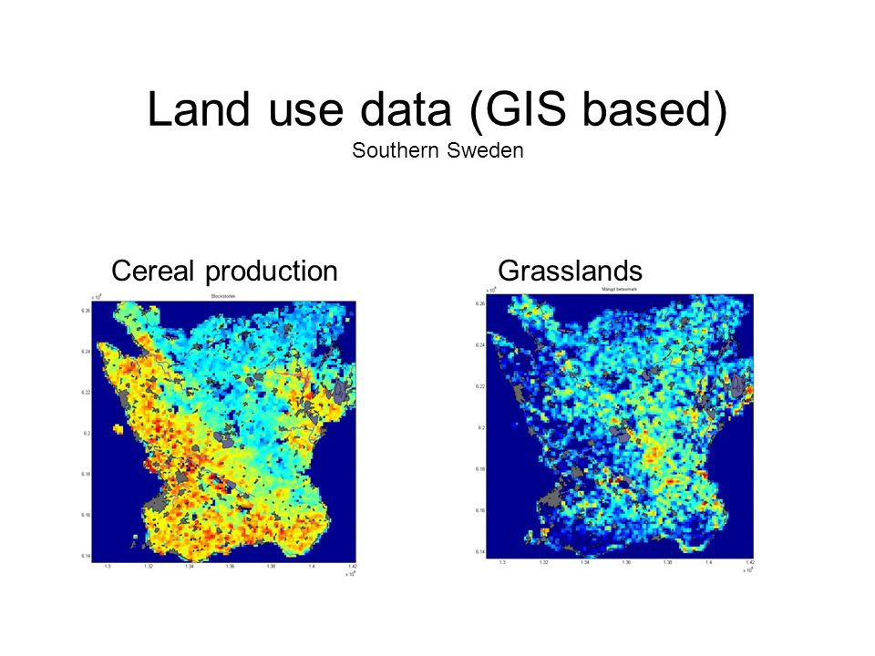 Land use data (GIS based) Southern Sweden Cereal productionGrasslands