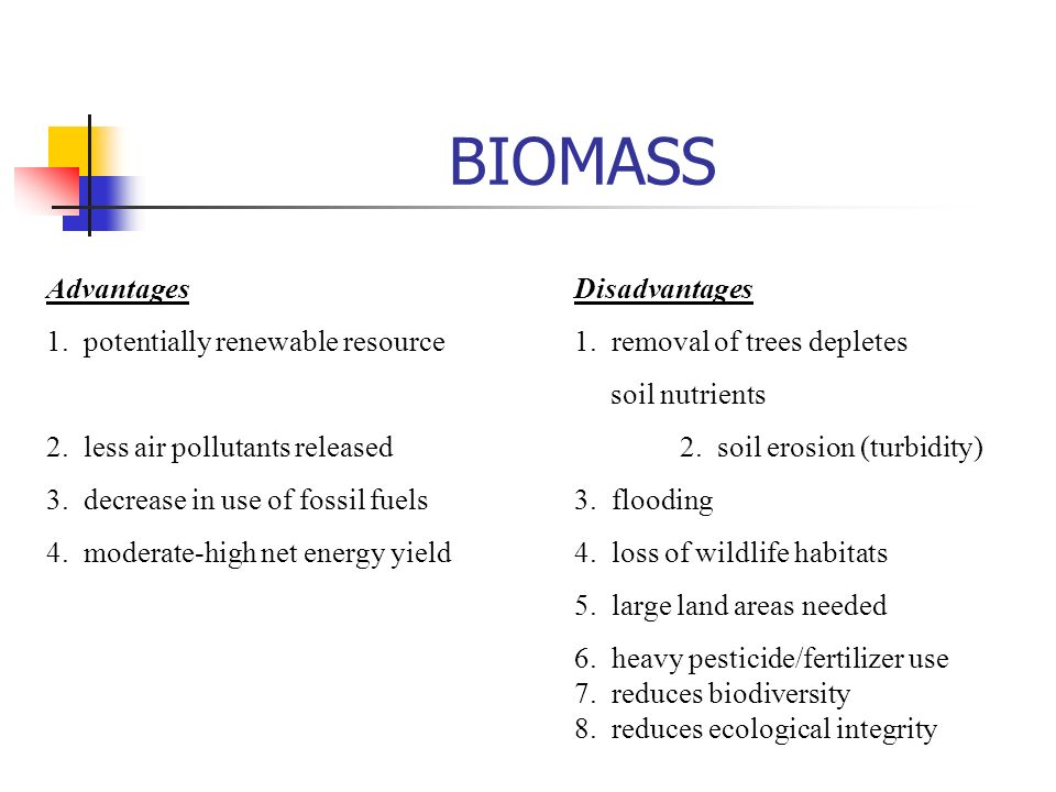 BIOMASS AdvantagesDisadvantages 1. potentially renewable resource1.