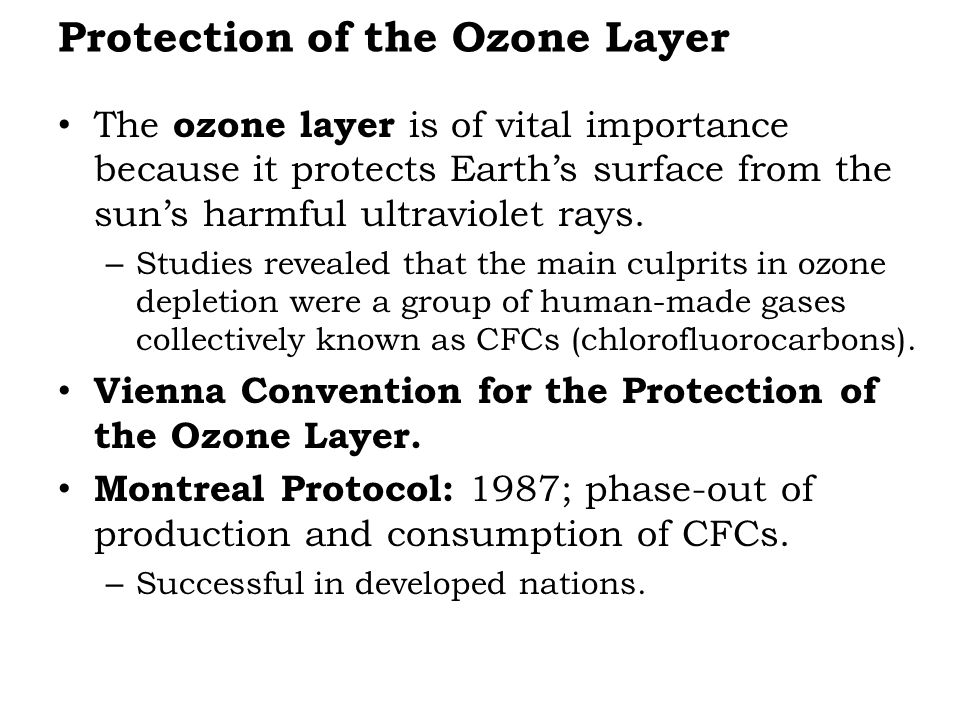 Protection of the Ozone Layer The ozone layer is of vital importance because it protects Earth's surface from the sun's harmful ultraviolet rays.