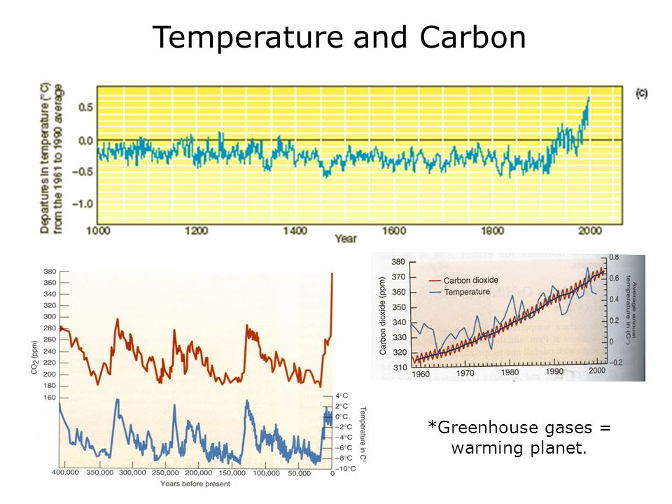 Temperature and Carbon *Greenhouse gases = warming planet.