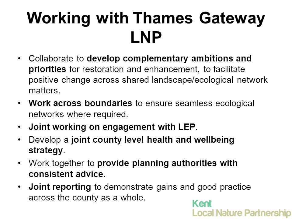 Working with Thames Gateway LNP Collaborate to develop complementary ambitions and priorities for restoration and enhancement, to facilitate positive change across shared landscape/ecological network matters.