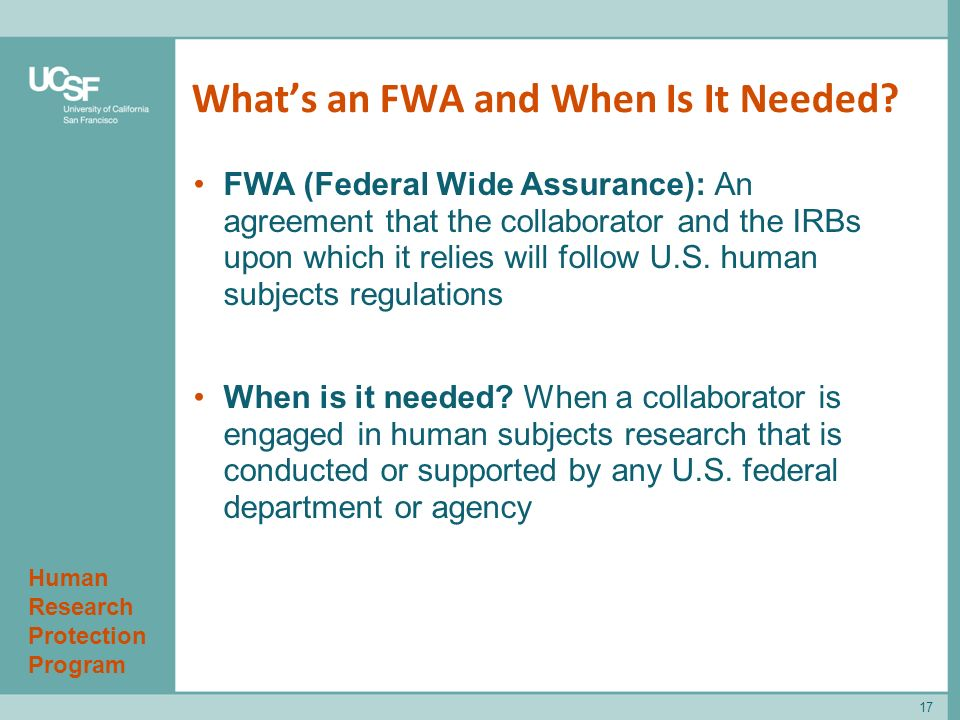 Human Research Protection Program What's an FWA and When Is It Needed.