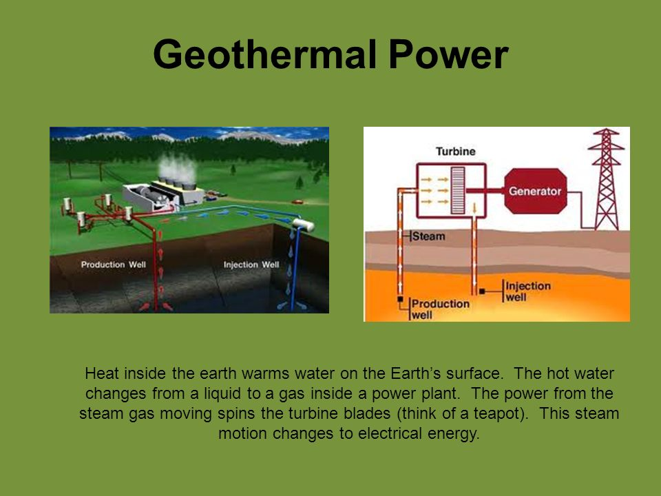 Geothermal Power Heat inside the earth warms water on the Earth's surface.