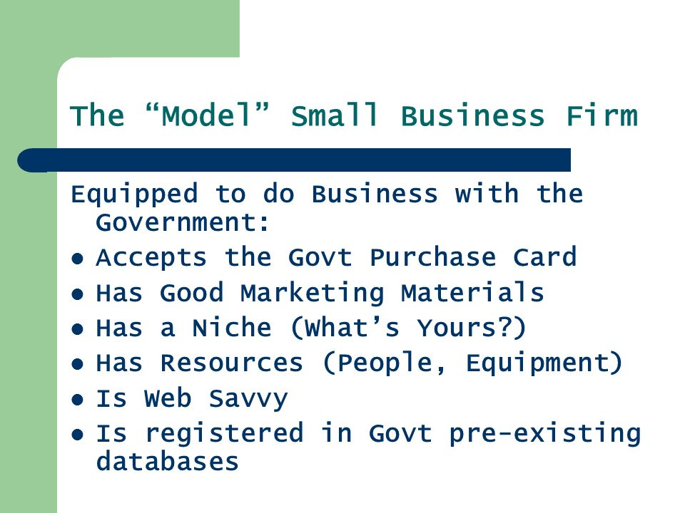 The Model Small Business Firm Equipped to do Business with the Government: Accepts the Govt Purchase Card Has Good Marketing Materials Has a Niche (What's Yours ) Has Resources (People, Equipment) Is Web Savvy Is registered in Govt pre-existing databases