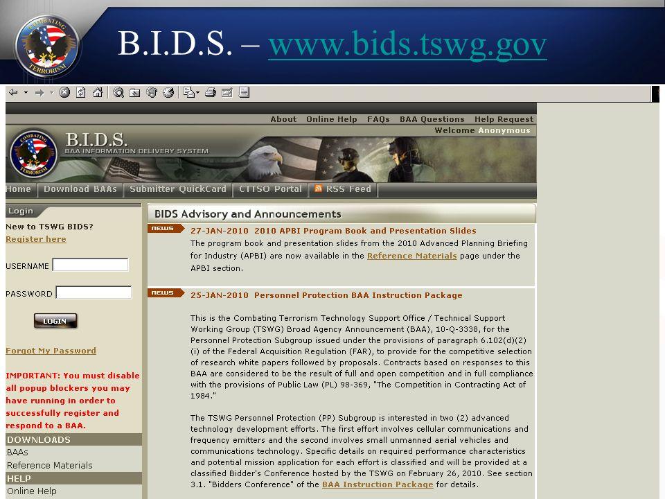 B.I.D.S. – www.bids.tswg.govwww.bids.tswg.gov