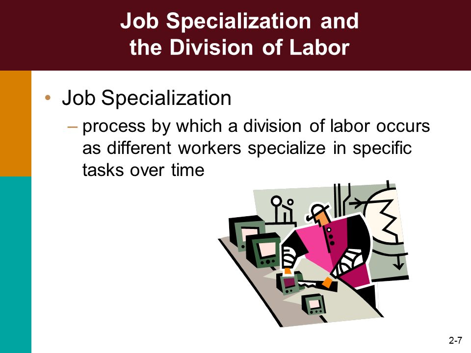2-8 Job Specialization and the Division of Labor Workers who specialized became much more skilled at their specific tasks Increasing job specialization increases efficiency and leads to higher organizational performance