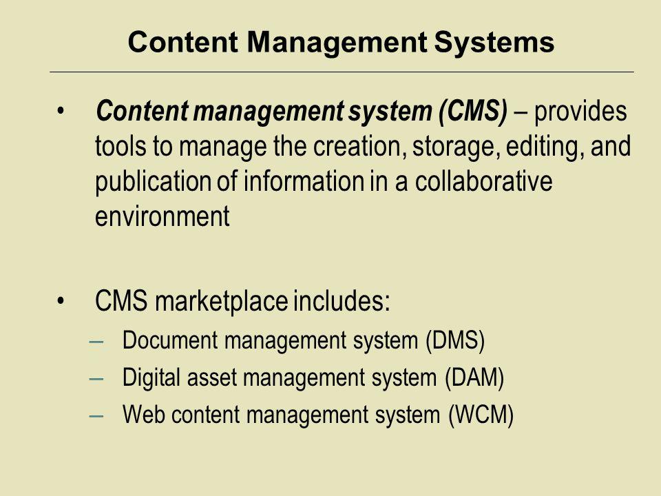 Content Management Systems Content management system vendor overview