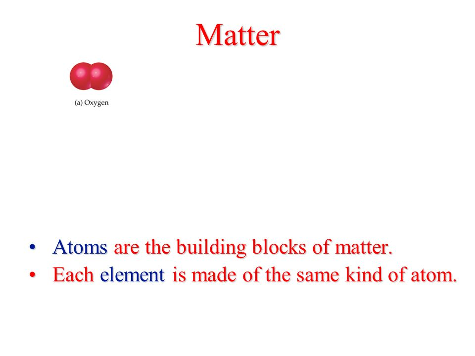 Matter Atoms are the building blocks of matter.Atoms are the building blocks of matter.