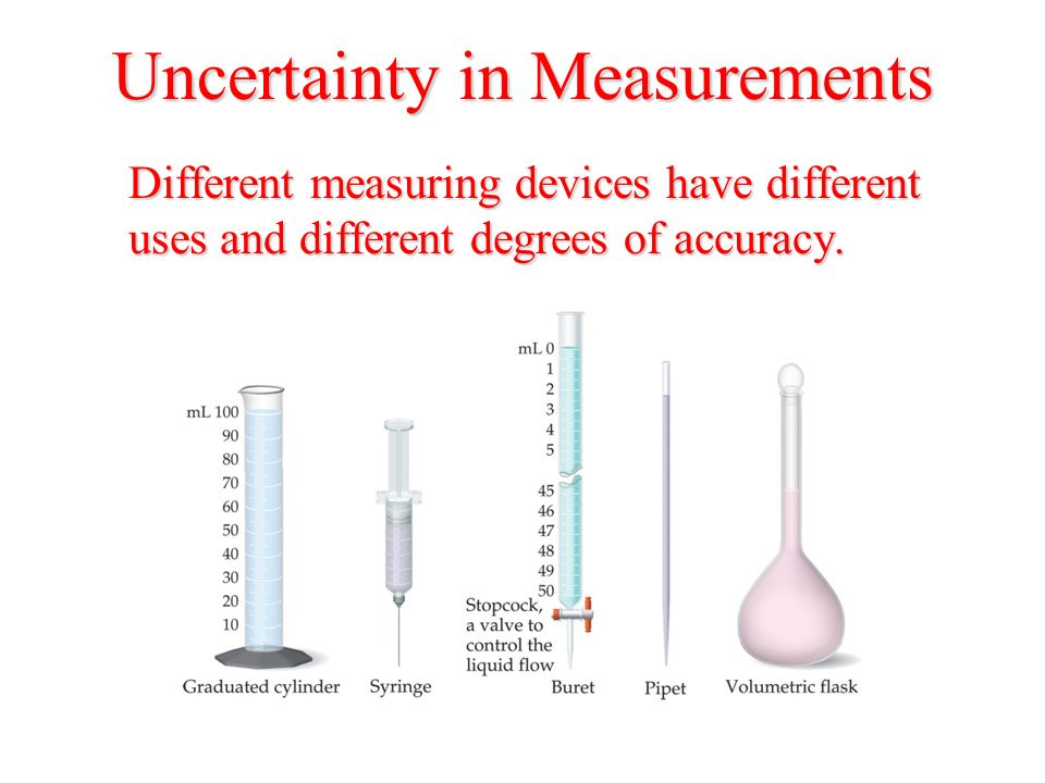 Uncertainty in Measurements Different measuring devices have different uses and different degrees of accuracy.