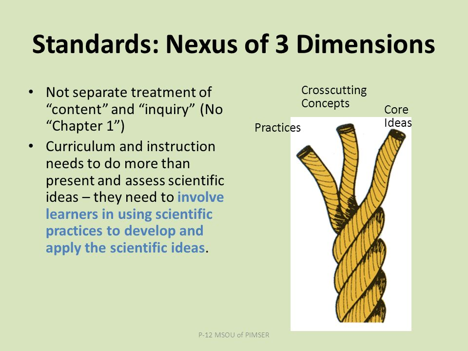 Standards: Nexus of 3 Dimensions Not separate treatment of content and inquiry (No Chapter 1 ) Curriculum and instruction needs to do more than present and assess scientific ideas – they need to involve learners in using scientific practices to develop and apply the scientific ideas.
