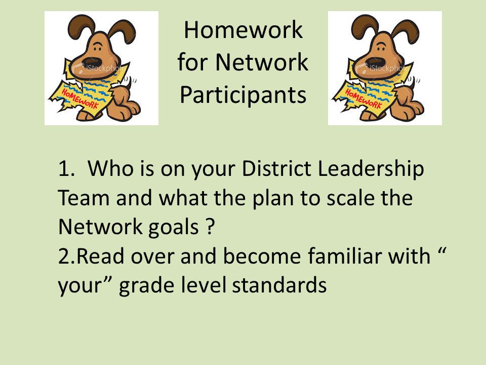 Homework for Network Participants 1.