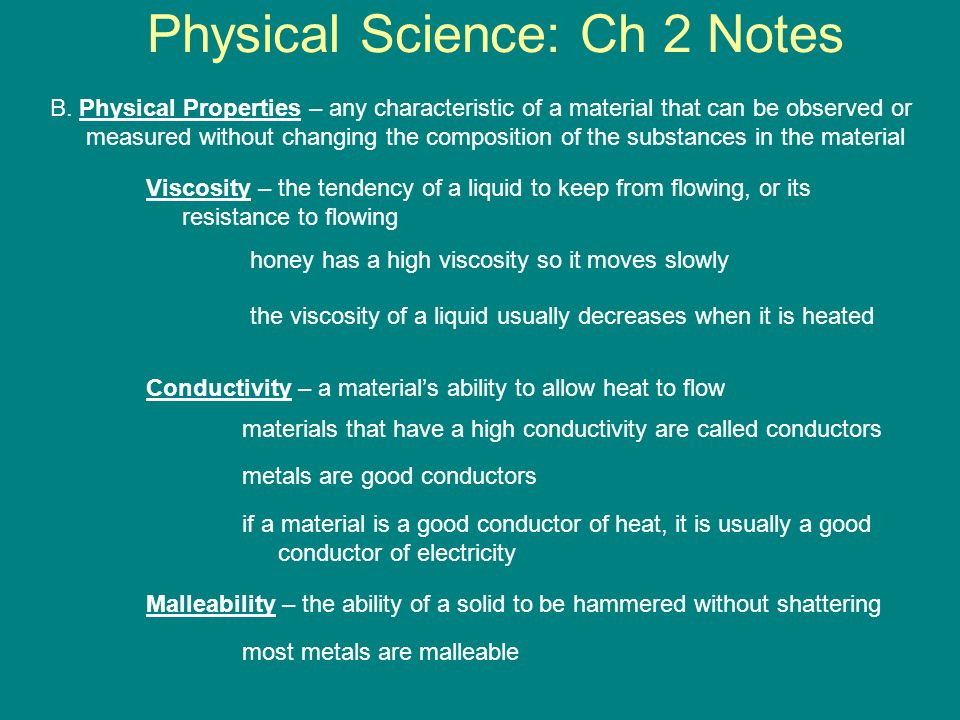 Physical Science: Ch 2 Notes B.
