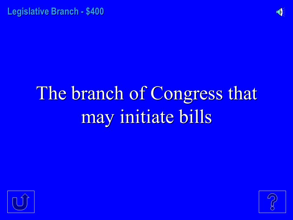 Legislative Branch - $300 Another name for the Necessary and Proper Clause