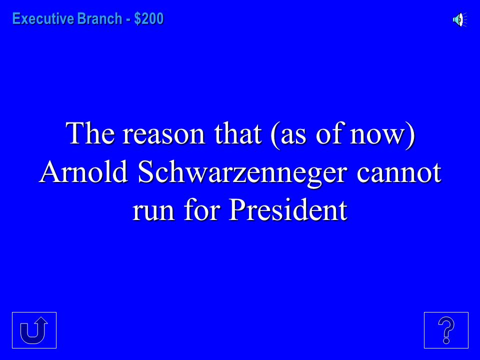 Executive Branch - $100 The minimum age before a citizen may run for President