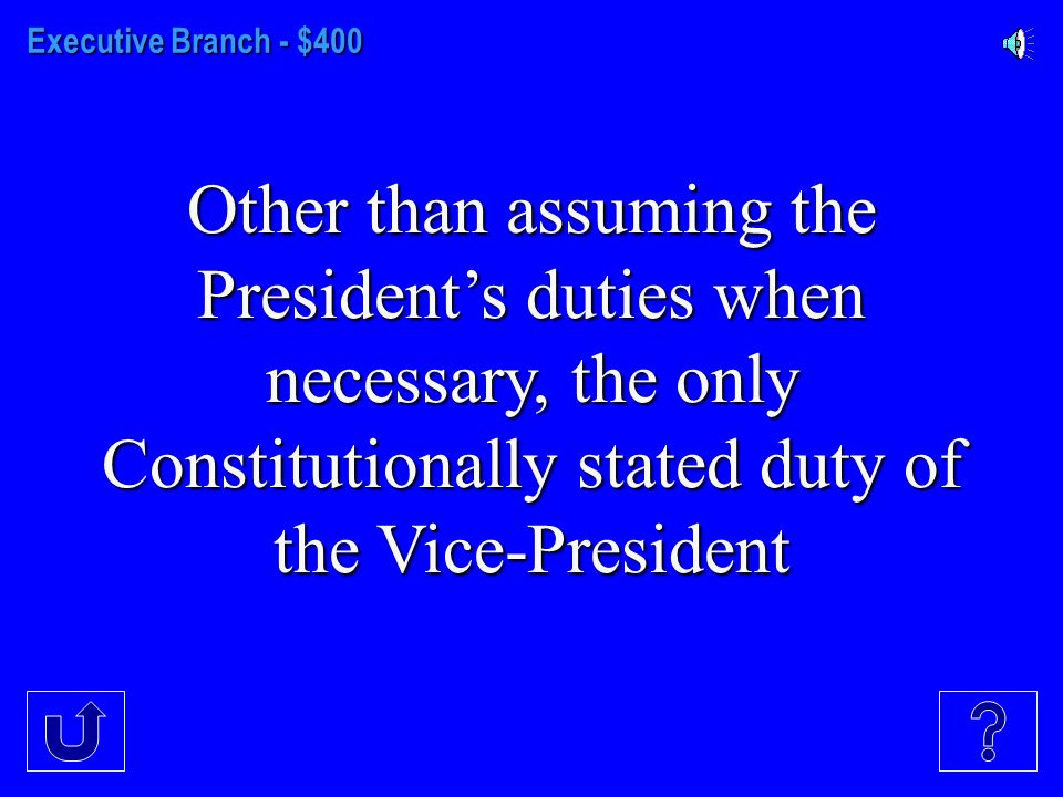Executive Branch - $300 The group that actually elects the President and the Vice- President