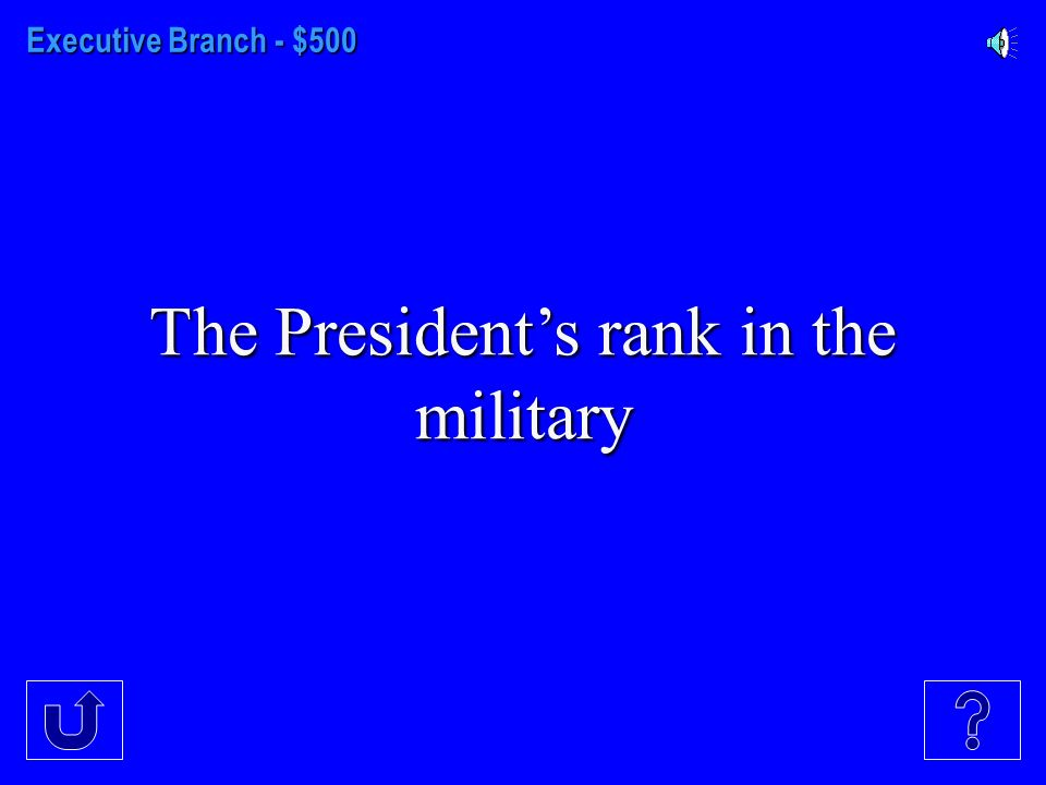 Executive Branch - $400 Other than assuming the President's duties when necessary, the only Constitutionally stated duty of the Vice-President