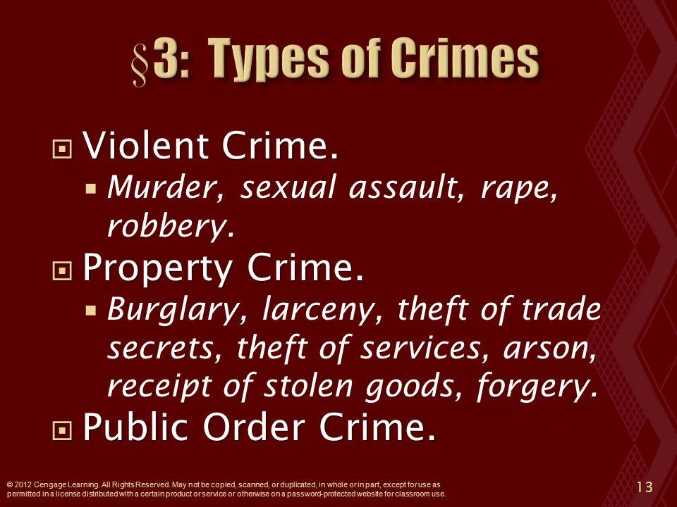  Violent Crime.  Murder, sexual assault, rape, robbery.