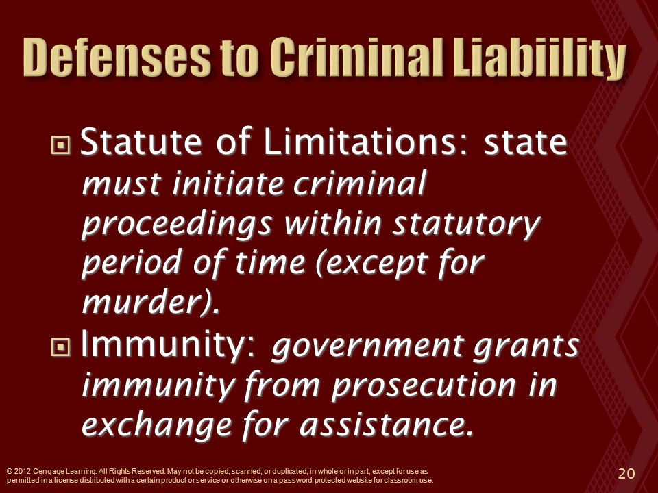  Statute of Limitations: state must initiate criminal proceedings within statutory period of time (except for murder).