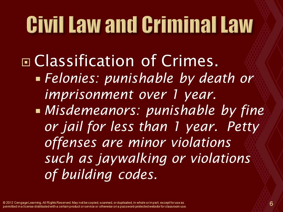  Classification of Crimes.  Felonies: punishable by death or imprisonment over 1 year.
