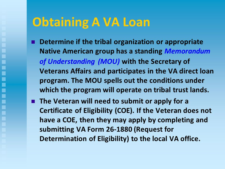 Native American Direct Loan Program The Department of Veterans ...
