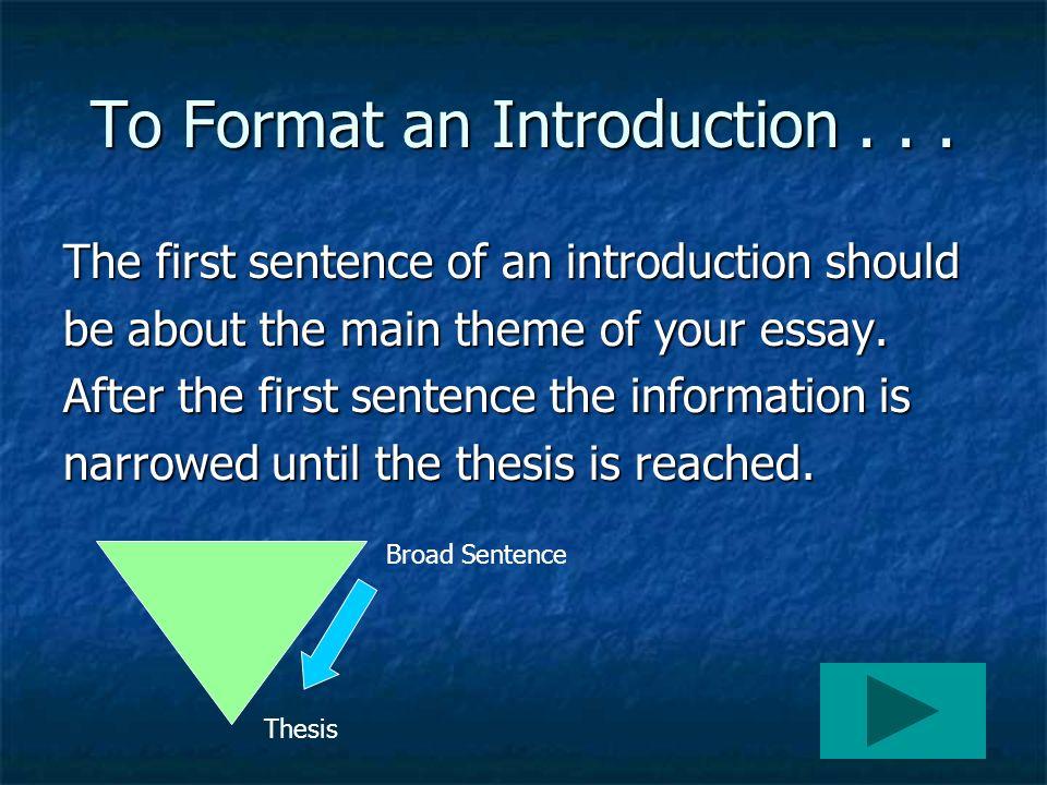 Essay First Sentence