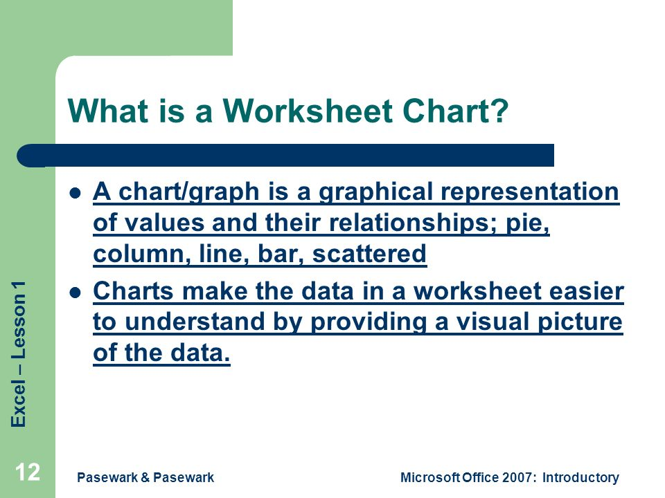 Excel – Lesson 1 Pasewark & PasewarkMicrosoft Office 2007: Introductory 12 What is a Worksheet Chart.