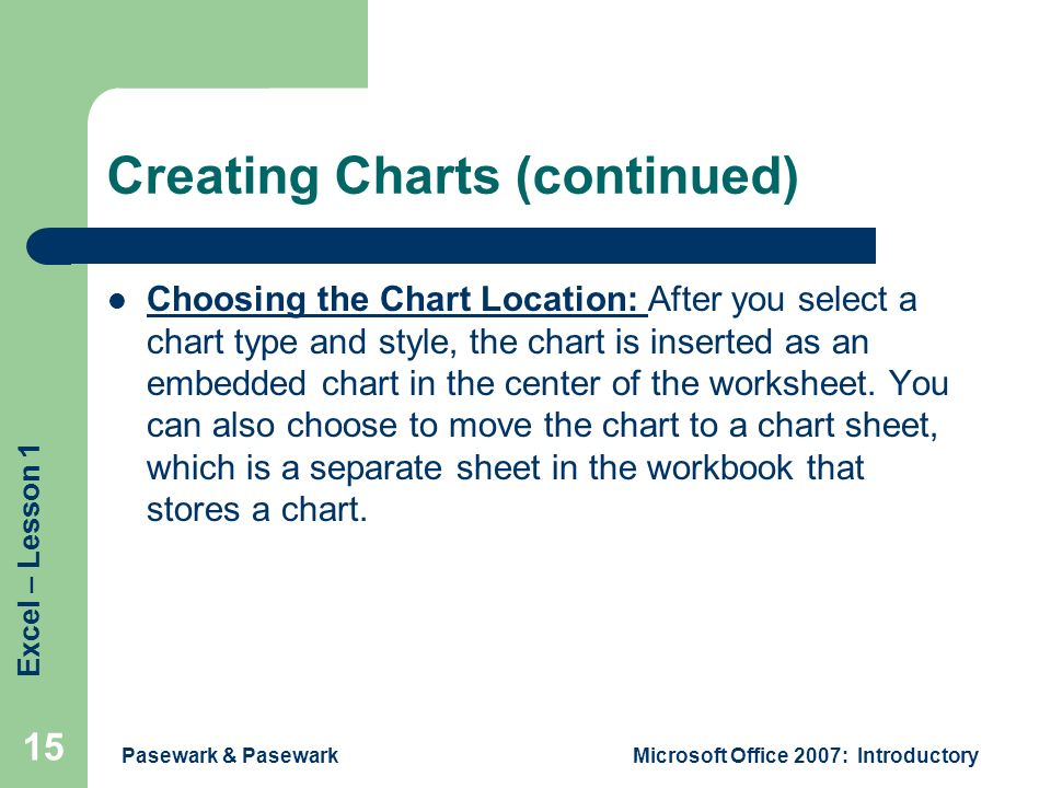 Excel – Lesson 1 Pasewark & PasewarkMicrosoft Office 2007: Introductory 15 Creating Charts (continued) Choosing the Chart Location: After you select a chart type and style, the chart is inserted as an embedded chart in the center of the worksheet.