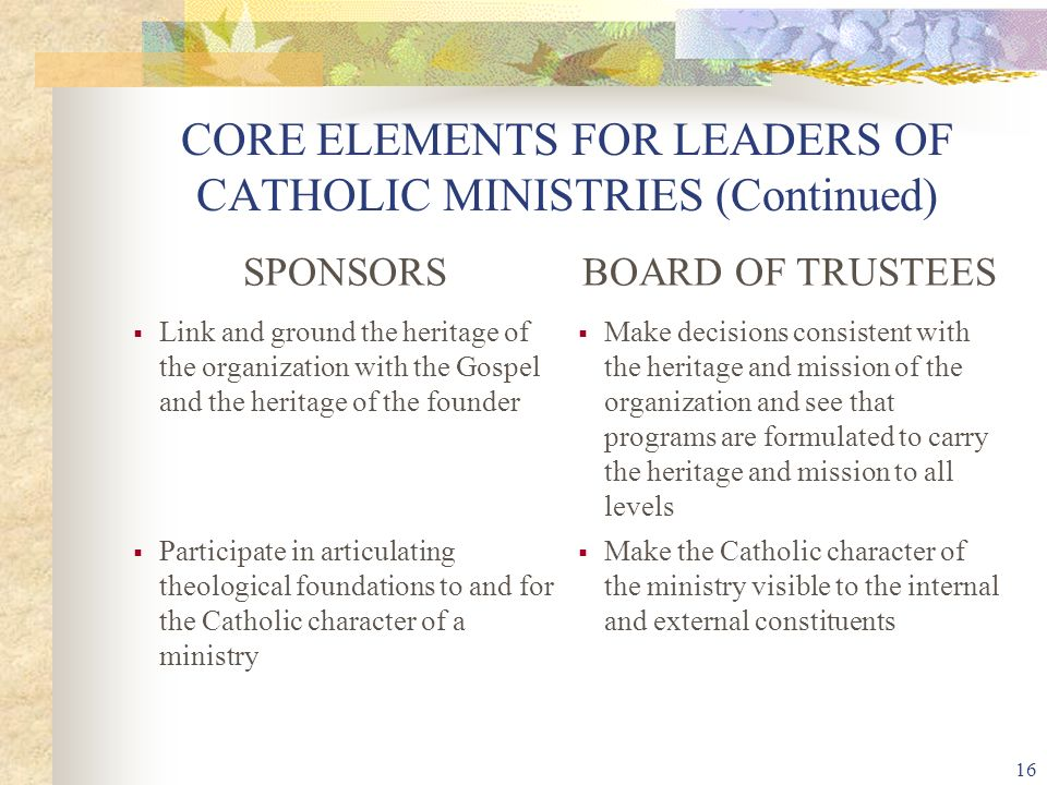 16 CORE ELEMENTS FOR LEADERS OF CATHOLIC MINISTRIES (Continued) SPONSORSBOARD OF TRUSTEES  Link and ground the heritage of the organization with the Gospel and the heritage of the founder  Make decisions consistent with the heritage and mission of the organization and see that programs are formulated to carry the heritage and mission to all levels  Participate in articulating theological foundations to and for the Catholic character of a ministry  Make the Catholic character of the ministry visible to the internal and external constituents
