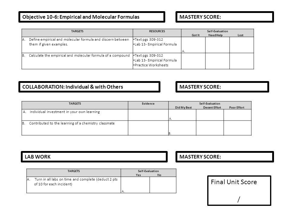 Molecular formula worksheet answer key
