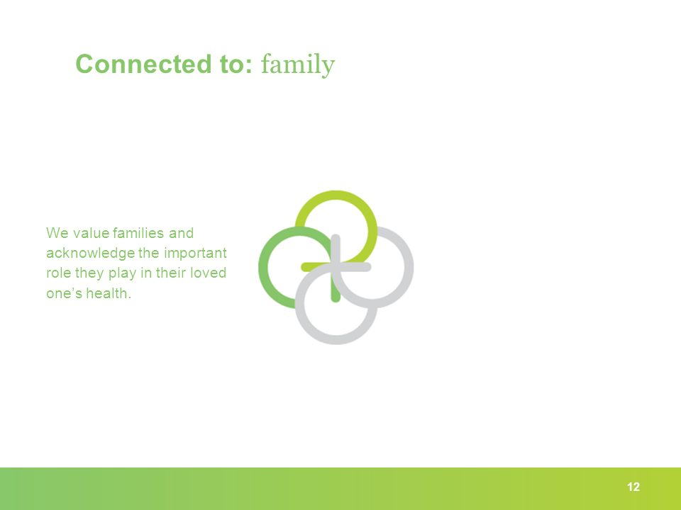 12 Connected to: family We value families and acknowledge the important role they play in their loved one's health.