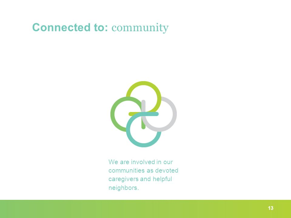 13 Connected to: community We are involved in our communities as devoted caregivers and helpful neighbors.