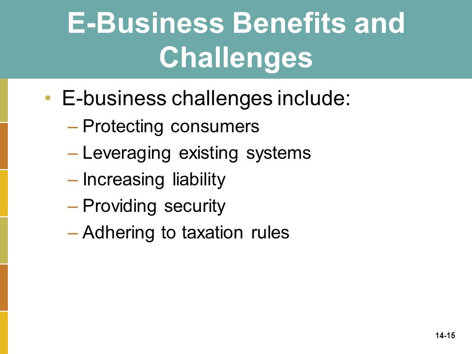 14-15 E-Business Benefits and Challenges E-business challenges include: –Protecting consumers –Leveraging existing systems –Increasing liability –Providing security –Adhering to taxation rules