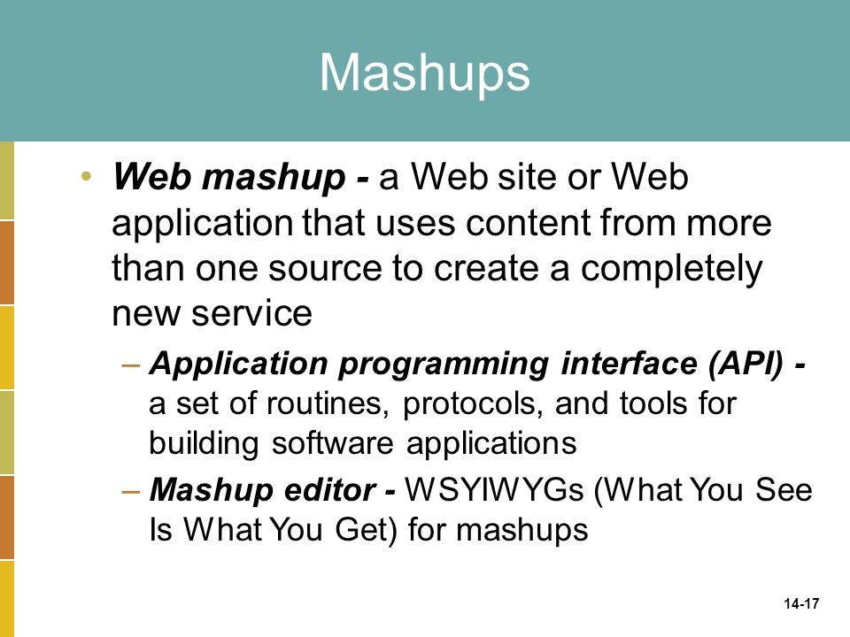 14-17 Mashups Web mashup - a Web site or Web application that uses content from more than one source to create a completely new service –Application programming interface (API) - a set of routines, protocols, and tools for building software applications –Mashup editor - WSYIWYGs (What You See Is What You Get) for mashups