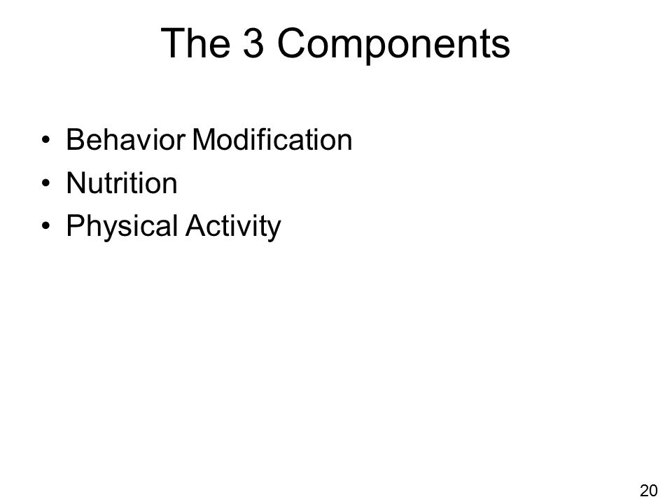 The 3 Components Behavior Modification Nutrition Physical Activity 20