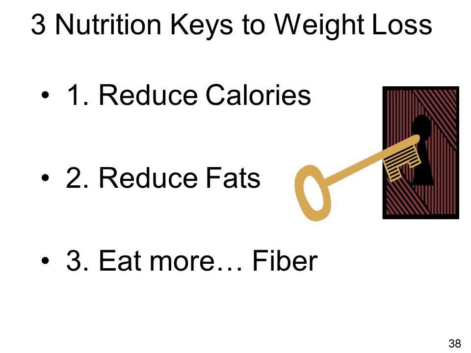 3 Nutrition Keys to Weight Loss 1. Reduce Calories 2. Reduce Fats 3. Eat more… Fiber 38