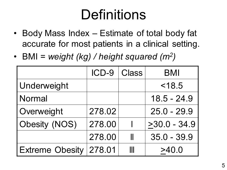 Definitions Body Mass Index – Estimate of total body fat accurate for most patients in a clinical setting.