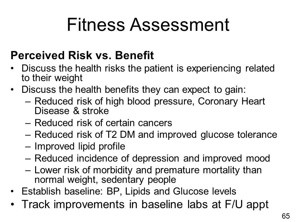 Fitness Assessment Perceived Risk vs.