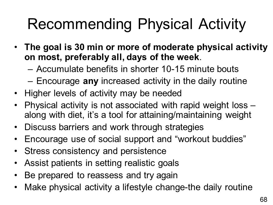 Recommending Physical Activity The goal is 30 min or more of moderate physical activity on most, preferably all, days of the week.
