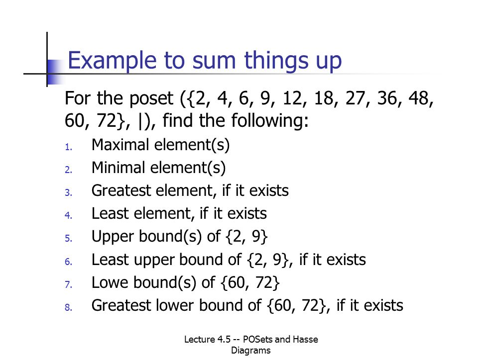 Lecture 45 posets and hasse diagrams cs 250 discrete structures 18 example ccuart Gallery