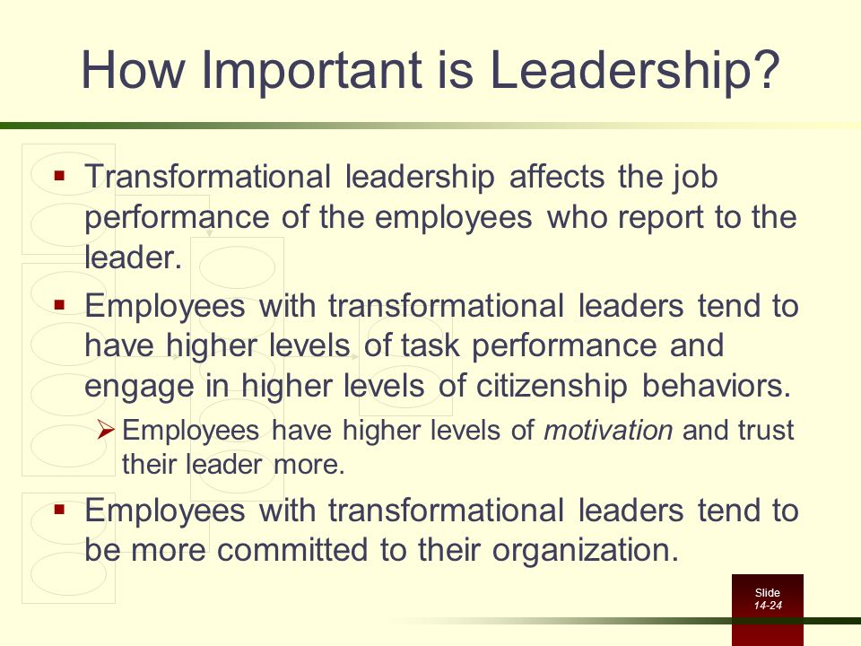 Slide 14-24 How Important is Leadership?  Transformational leadership affects the job performance of the employees who report to the leader.  Employ