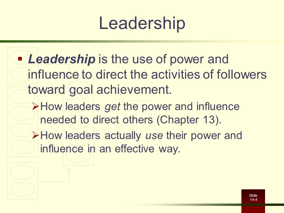 Slide 14-4 Leadership  Leadership is the use of power and influence to direct the activities of followers toward goal achievement.  How leaders get