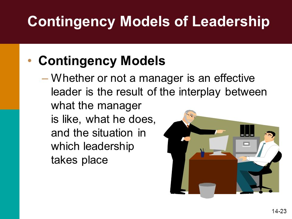 14-23 Contingency Models of Leadership Contingency Models –Whether or not a manager is an effective leader is the result of the interplay between what the manager is like, what he does, and the situation in which leadership takes place