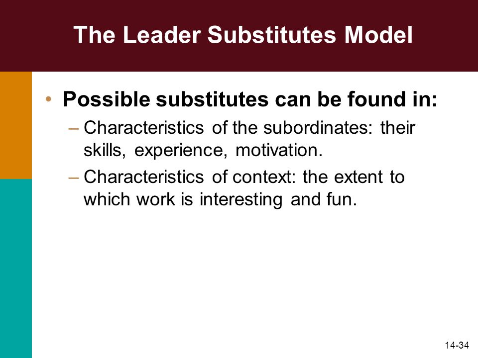 14-34 The Leader Substitutes Model Possible substitutes can be found in: –Characteristics of the subordinates: their skills, experience, motivation.