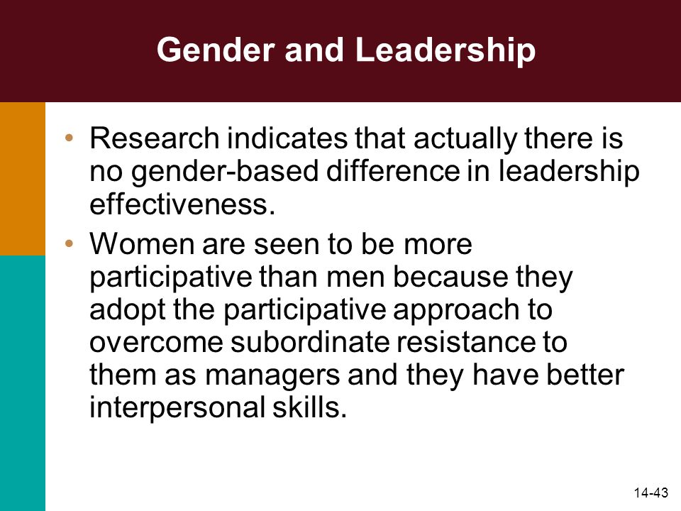 14-43 Gender and Leadership Research indicates that actually there is no gender-based difference in leadership effectiveness.