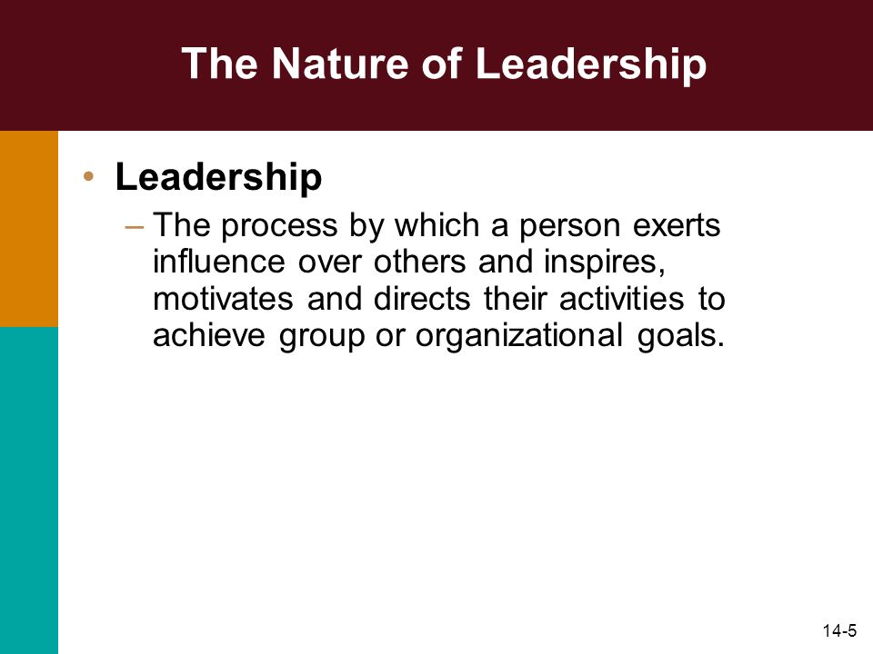 14-5 The Nature of Leadership Leadership –The process by which a person exerts influence over others and inspires, motivates and directs their activities to achieve group or organizational goals.
