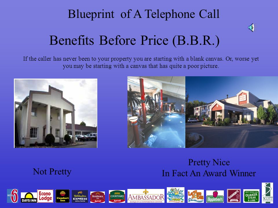 Blueprint of A Telephone Call Benefits Before Price (B.B.R.) If the caller has never been to your property you are starting with a blank canvas.